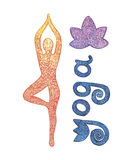 Watercolor yoga set. Watercolor yoga pose set on white background Royalty Free Stock Photography