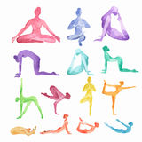 Watercolor yoga set. Watercolor yoga set on white background. Yoga poses, asana. Healthy lifestyle and relaxation royalty free illustration
