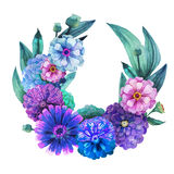 Watercolor zinnia wreath Royalty Free Stock Images
