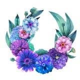 Watercolor zinnia wreath Stock Images