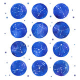 Watercolor zodiac constellations set Royalty Free Stock Image