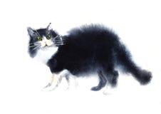 Watercolored illustration av den svarta katten Arkivbild