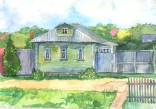 Watercolored illustration of an old wooden house Royalty Free Stock Photo