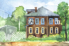 Watercolored illustration of a wooden house Royalty Free Stock Image