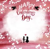 Watercolored pink Valentine background Stock Photo