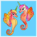 Watercolored Sea Unicorns Royalty Free Stock Photos