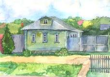 Watercoloredillustratie van een oud blokhuis Royalty-vrije Stock Foto
