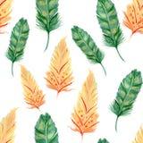 Watercolorgreen en perzikveren naadloos patroon stock illustratie