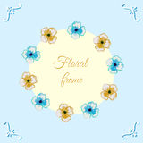 WatercolorPattern-03. Frame made from orange and blue watercolor flowers. Vector illustration Royalty Free Stock Photos