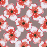 WatercolorPattern. Pattern made from big watercolor red flowers on the brown background Royalty Free Stock Image