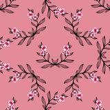 WatercolorPattern-12. Pattern made from black branches and watercolor pink flowers on the pink background vector illustration