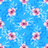 WatercolorPattern-132. Pattern made from colored leafs and watercolor pink flowers on the blue background Royalty Free Stock Photography