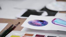 watercolors βουρτσών απόθεμα βίντεο
