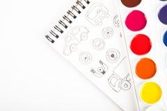 Watercolors και σχέδια γραφικά ενάντια σε ένα άσπρο φύλλο του PA Στοκ Εικόνα