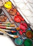 watercolors κιβωτίων Στοκ φωτογραφία με δικαίωμα ελεύθερης χρήσης