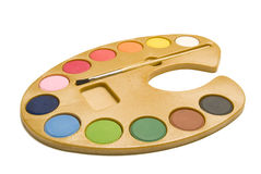 Watercolors. A isolated watercolor paintbox on white background Royalty Free Stock Photo