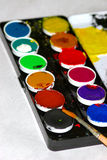 Watercolors. Colorful watercolors tray Stock Photography
