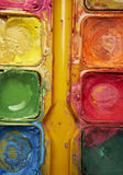 Watercolors. Set of watercolors after they have been used by an artist royalty free stock photo