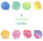 8 watercolors background textures. Set of 8 watercolors stains background textures stock illustration