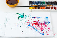 Watercolors blurs in a notebook. Artistic blots and blurs Stock Image