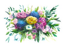 Watercolors bouquet of multicolored flowers Royalty Free Stock Photography