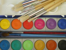 Watercolors and brush. Suitable as background Royalty Free Stock Image