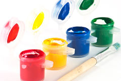 Watercolors and brush. Detail of watercolors and brush Royalty Free Stock Photography