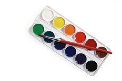 Watercolors and brush Royalty Free Stock Photo