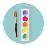 Watercolors and brush. Simple watercolor and brush vector image with shadows on green circle Royalty Free Illustration