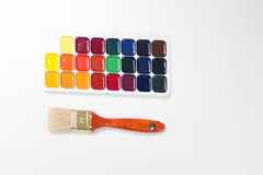 watercolors and brush Royalty Free Stock Photography