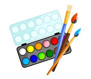 Watercolors with brushes Stock Images