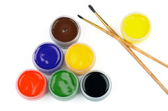 Watercolors and Brushes Royalty Free Stock Photo