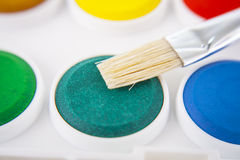 Watercolors and brushes background Royalty Free Stock Photography