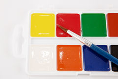 Watercolors and brushes isolated Stock Photo