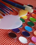 Watercolors, Brushes, Palette Stock Photography