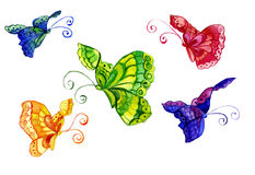 Watercolors of the butterfly. Watercolour of the image of the butterfly in the form Stock Images