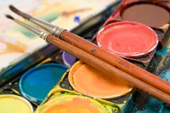 Watercolors (Close View) Royalty Free Stock Image
