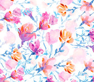 Watercolors colorful flowers Stock Photography