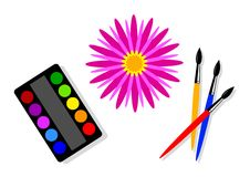 Watercolors and flower Royalty Free Stock Photography