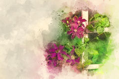 Watercolors n sketch flowers on canvas Royalty Free Stock Photos
