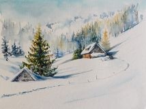 Winter mountains watercolors painted. stock images