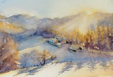 Winter landscape watercolor painted Stock Photography