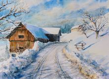 Winter landscape watercolor painted Stock Photo