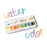 Watercolors and paintbox. Rainbow watercolor Royalty Free Stock Photo