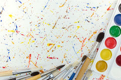 Watercolors and paintbrushes. workplace of the artist. Royalty Free Stock Image