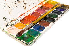 Watercolors palette Stock Images