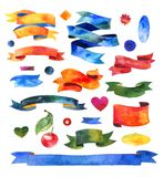 Watercolors ribbons and banners. Collection of Stock Images