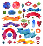 Watercolors ribbons and banners. Collection of Watercolor design vector illustration