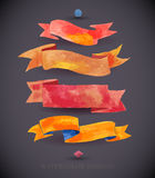 Watercolors ribbons and banners for text. Collection of Watercolor design elements Royalty Free Stock Photography
