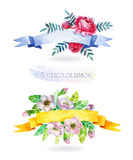 Watercolors ribbons and banners for text. Royalty Free Stock Photo